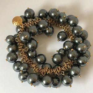 J. Crew Gold Chain Cha Cha Bead Stretch Bracelet